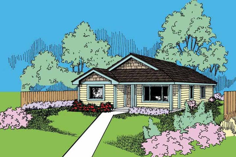 Ranch Exterior - Front Elevation Plan #60-721