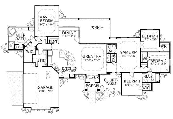 Mediterranean Floor Plan - Main Floor Plan Plan #80-167