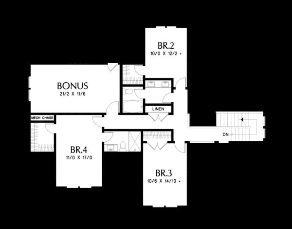 Farmhouse Floor Plan - Upper Floor Plan Plan #48-982