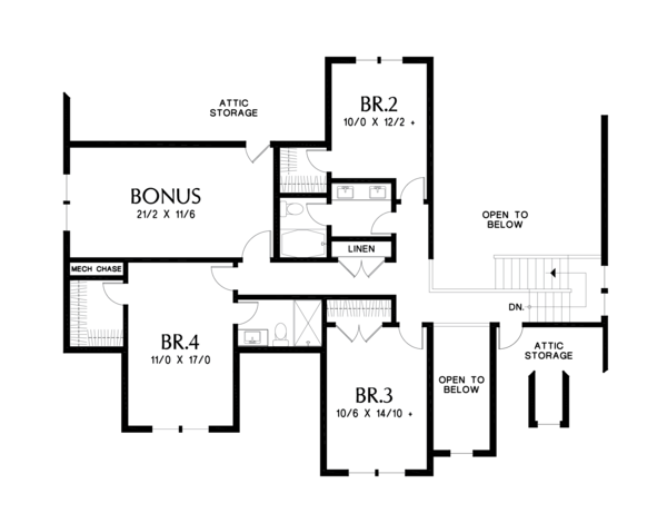 Farmhouse Floor Plan - Upper Floor Plan #48-982