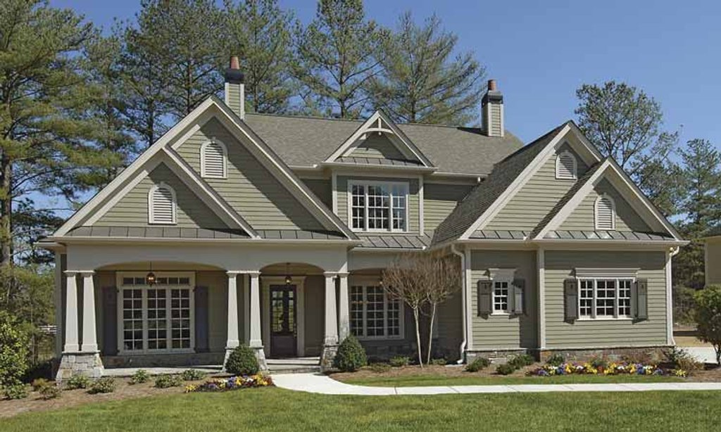 Craftsman exterior front elevation plan 54 296