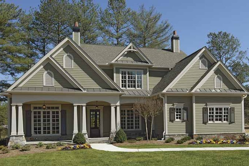 Dream House Plan - Craftsman Exterior - Front Elevation Plan #54-296