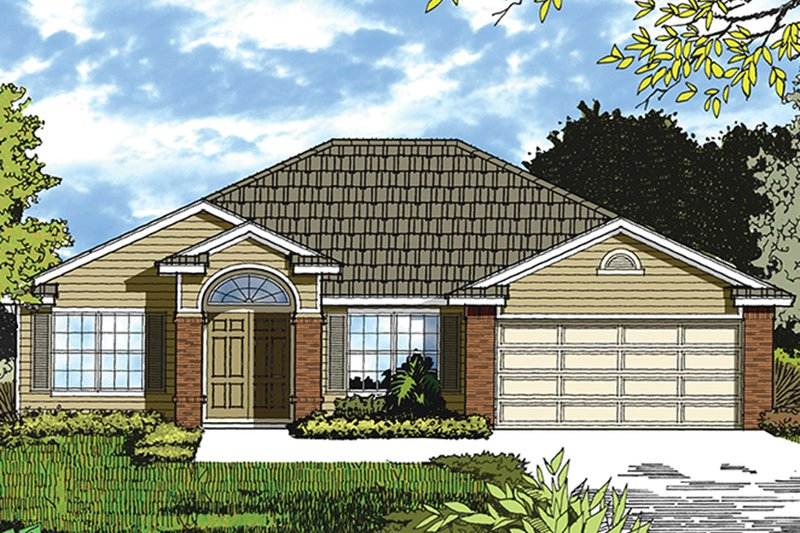 Mediterranean Style House Plan - 3 Beds 2 Baths 1560 Sq/Ft Plan #417-840 Exterior - Front Elevation