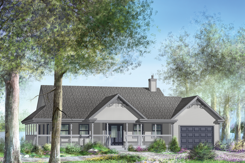 Country Style House Plan - 3 Beds 1 Baths 1526 Sq/Ft Plan #25-4443 Exterior - Front Elevation