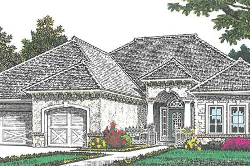 European Exterior - Front Elevation Plan #310-1266 - Houseplans.com
