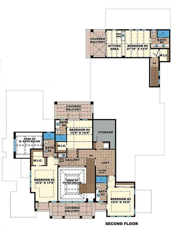 Dream House Plan - Country Floor Plan - Upper Floor Plan #1017-163