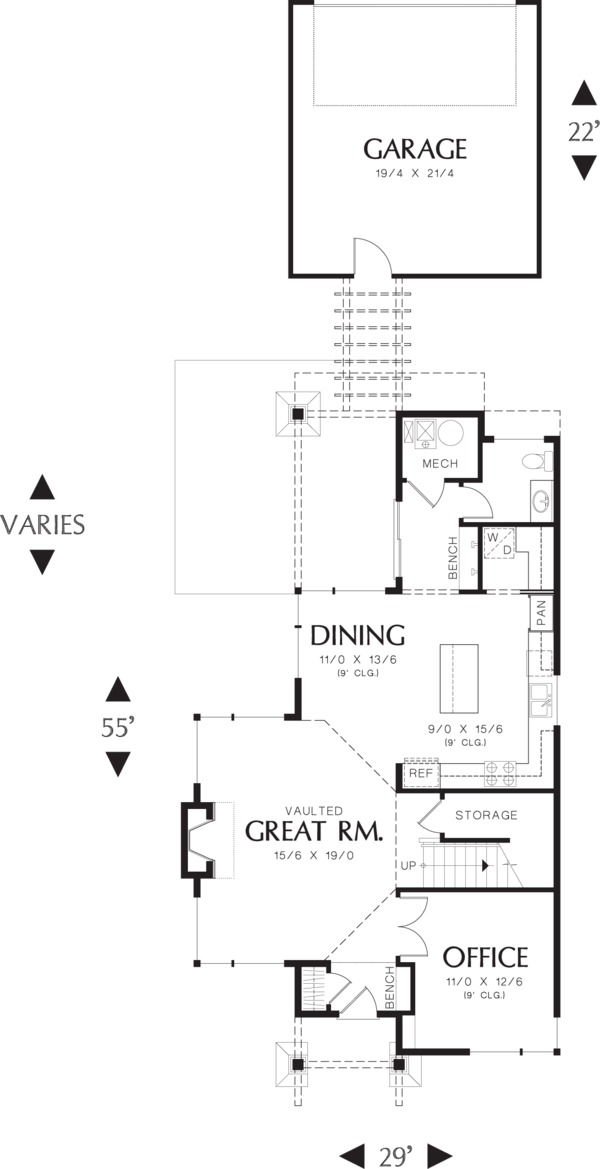 Modern Floor Plan - Main Floor Plan Plan #48-574