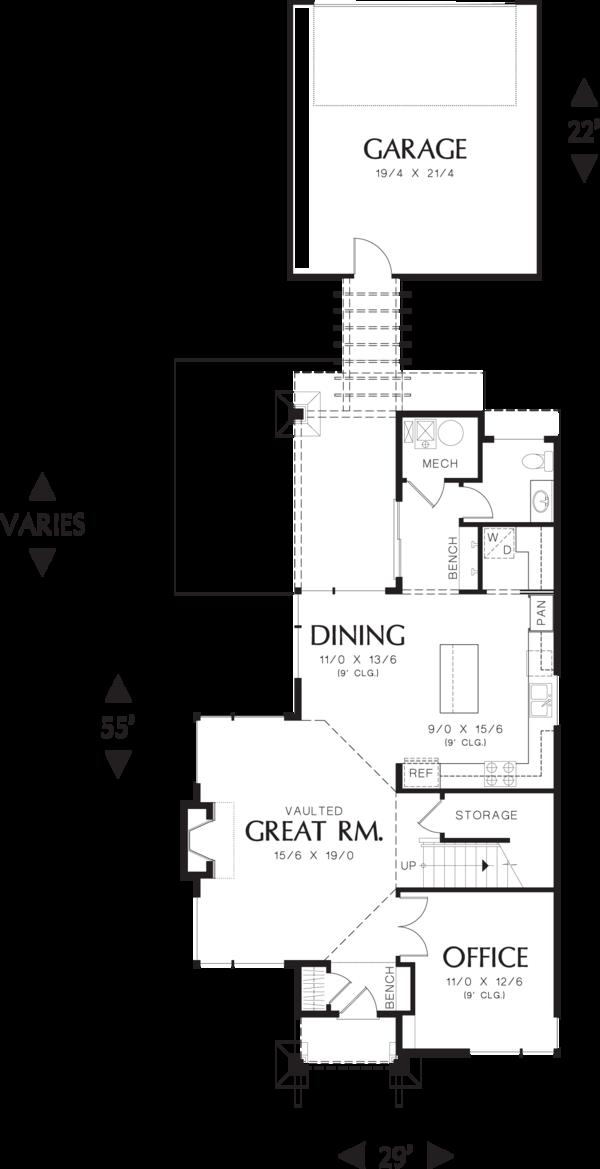 Modern Floor Plan - Main Floor Plan Plan #48-574