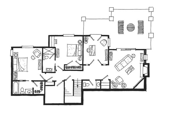 Cabin Floor Plan - Lower Floor Plan Plan #942-36