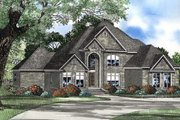 European Style House Plan - 4 Beds 5 Baths 4360 Sq/Ft Plan #17-577 Exterior - Front Elevation