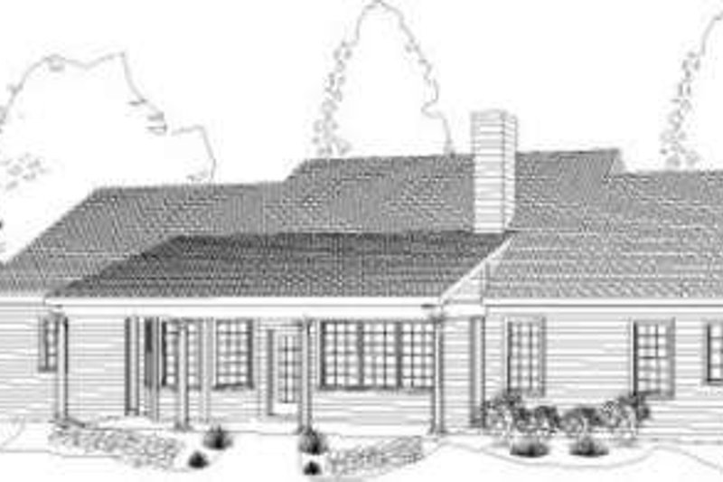 Southern Exterior - Rear Elevation Plan #406-128 - Houseplans.com