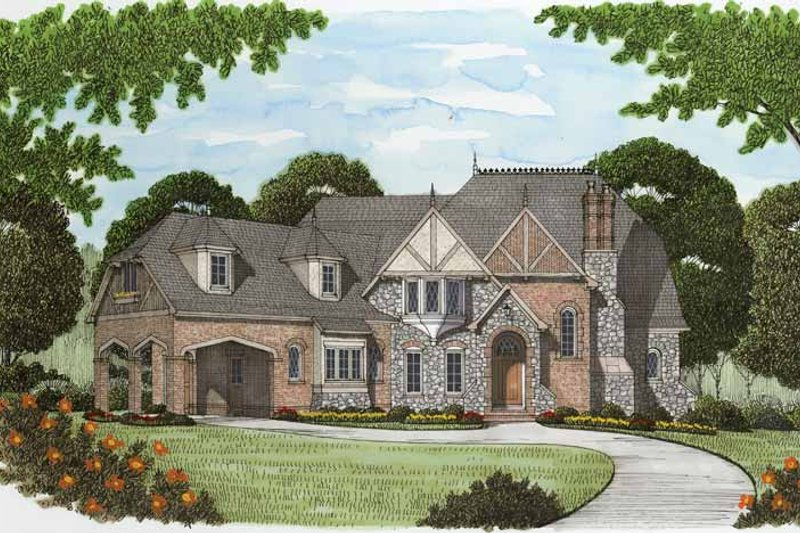 Tudor Exterior - Front Elevation Plan #413-902