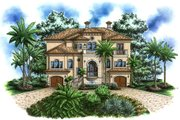 Mediterranean Style House Plan - 4 Beds 5.1 Baths 8740 Sq/Ft Plan #27-528 Exterior - Front Elevation