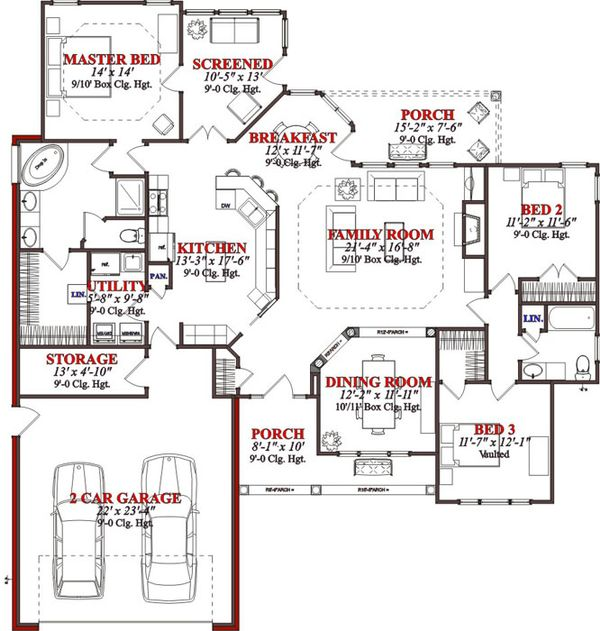 Traditional Floor Plan - Main Floor Plan #63-191