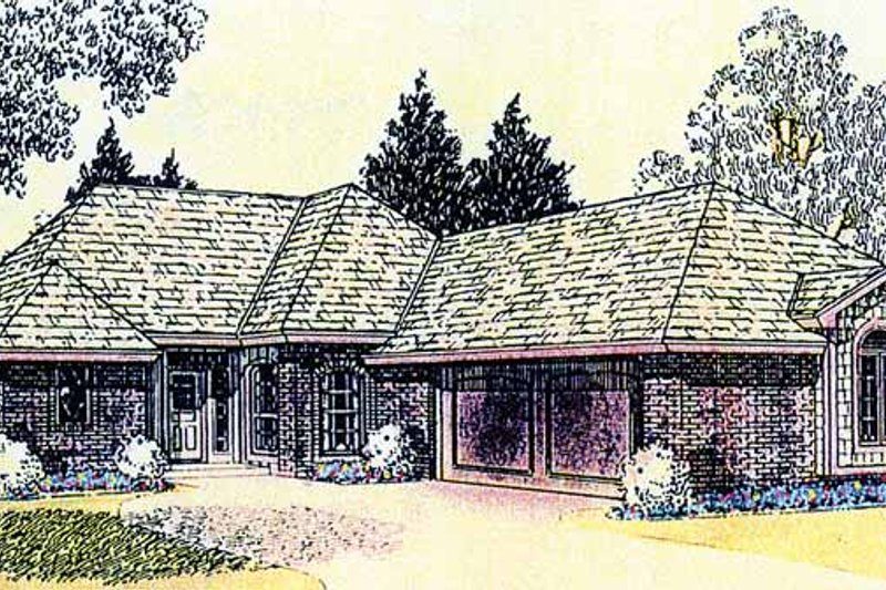 Ranch Exterior - Front Elevation Plan #310-1214