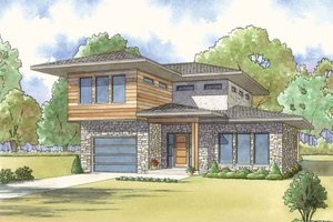 House Blueprint - Contemporary Exterior - Front Elevation Plan #17-2600