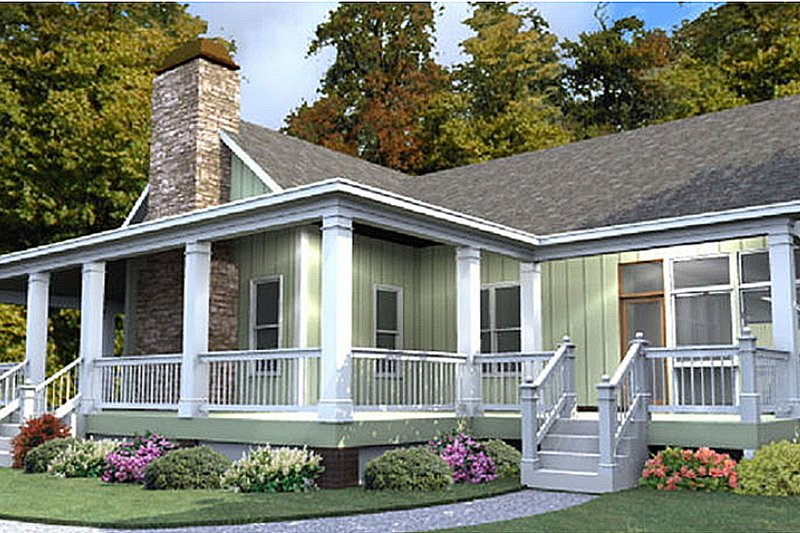 Farmhouse Style House Plan - 3 Beds 2 Baths 2185 Sq/Ft Plan #63-388 Exterior - Front Elevation