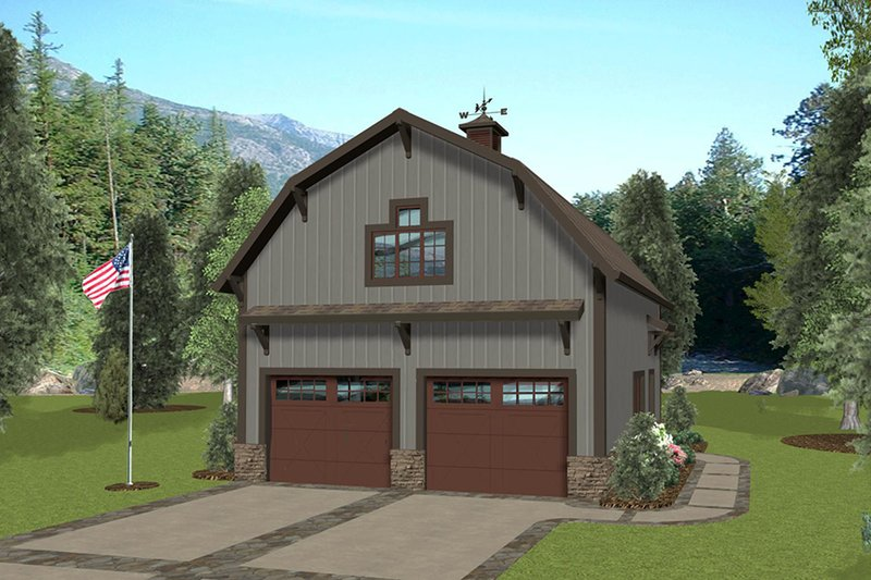 Country Style House Plan - 1 Beds 1 Baths 562 Sq/Ft Plan #56-703 Exterior - Front Elevation