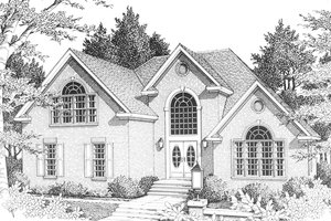 House Plan Design - Front View - 2700 square foot European home