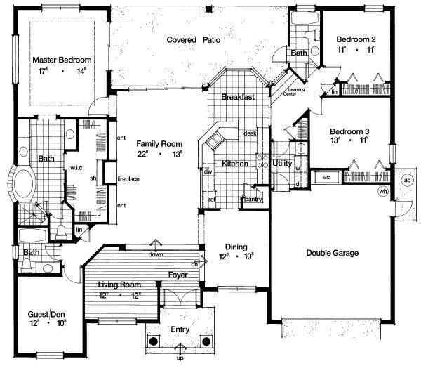 Mediterranean Floor Plan - Main Floor Plan Plan #417-270