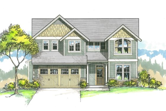 Craftsman Exterior - Front Elevation Plan #53-516