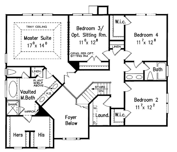 Traditional Floor Plan - Upper Floor Plan Plan #927-13