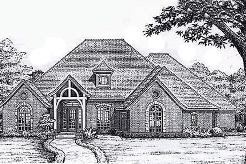 European Style House Plan - 3 Beds 3.5 Baths 3093 Sq/Ft Plan #310-917 Exterior - Front Elevation