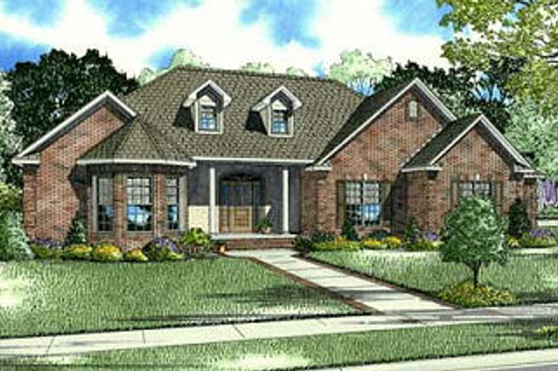European Style House Plan - 4 Beds 3.5 Baths 2885 Sq/Ft Plan #17-650 Exterior - Front Elevation