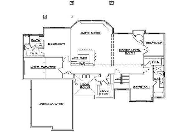 Traditional Floor Plan - Lower Floor Plan Plan #5-360