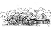 European Style House Plan - 5 Beds 4 Baths 3886 Sq/Ft Plan #141-282 Exterior - Front Elevation
