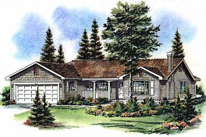 House Blueprint - Farmhouse Exterior - Front Elevation Plan #18-1011