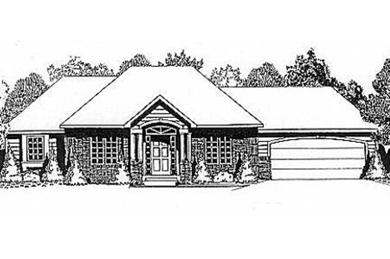 Traditional Style House Plan - 3 Beds 2 Baths 1272 Sq/Ft Plan #58-129 Exterior - Front Elevation