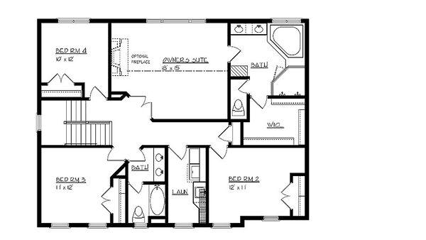 Craftsman Floor Plan - Upper Floor Plan Plan #320-495