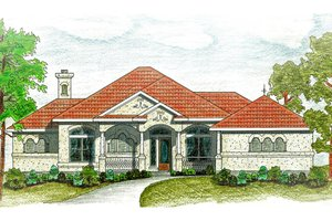 Architectural House Design - Mediterranean Exterior - Front Elevation Plan #80-117