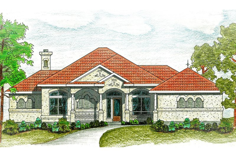 Dream House Plan - Mediterranean Exterior - Front Elevation Plan #80-117