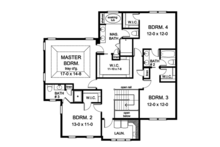 Colonial Floor Plan - Upper Floor Plan Plan #1010-171