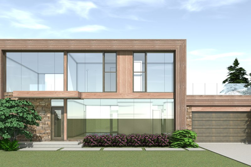 Modern Exterior - Front Elevation Plan #64-217 - Houseplans.com