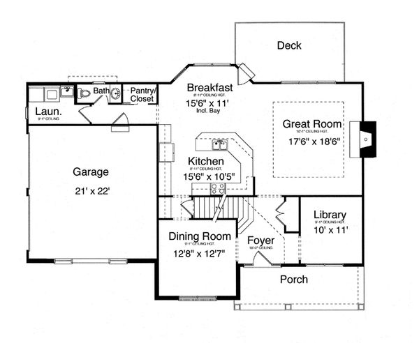 Traditional Floor Plan - Main Floor Plan Plan #46-837