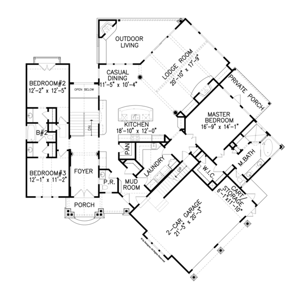 House Plan Design - Craftsman Floor Plan - Main Floor Plan #54-368