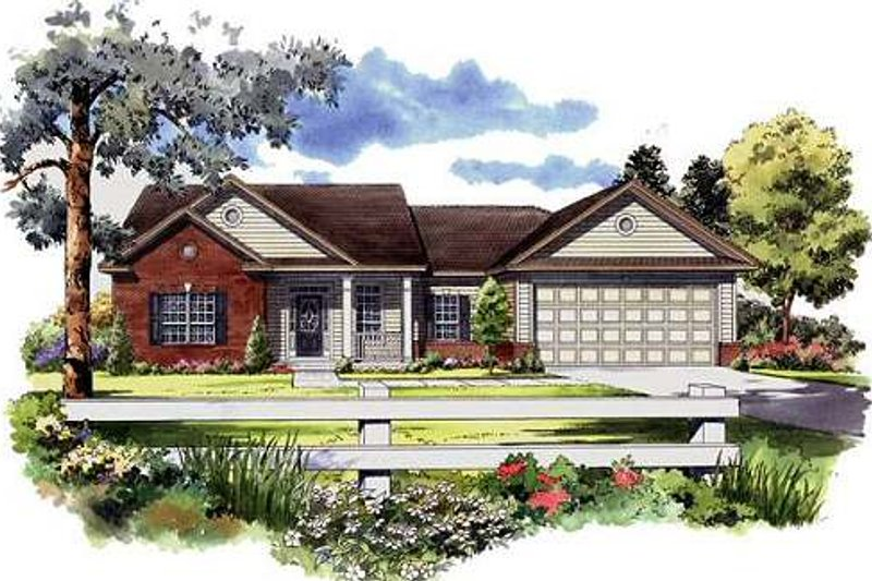 Ranch Exterior - Front Elevation Plan #21-143