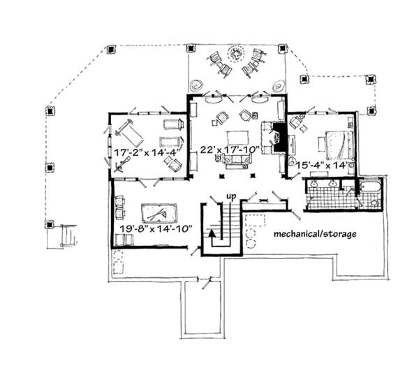 Craftsman Floor Plan - Lower Floor Plan Plan #942-30