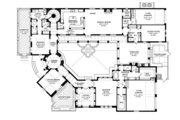 Mediterranean Style House Plan - 4 Beds 3.5 Baths 4697 Sq/Ft Plan #1058-10 Floor Plan - Main Floor Plan