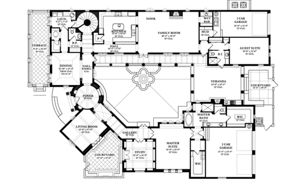 Mediterranean Floor Plan - Main Floor Plan Plan #1058-10