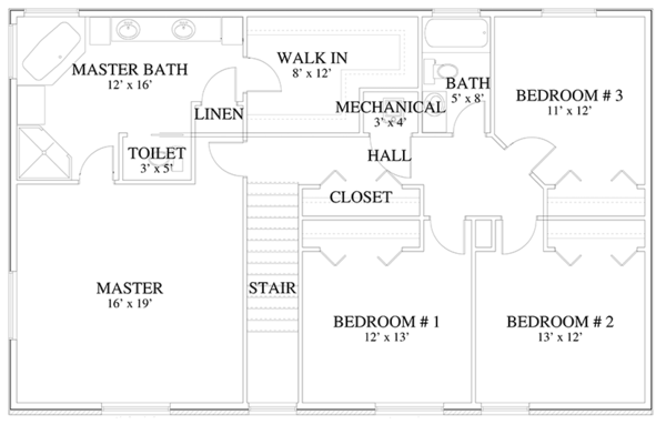 Traditional Floor Plan - Upper Floor Plan #1060-17