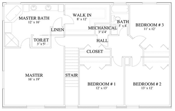 Traditional Floor Plan - Upper Floor Plan Plan #1060-17