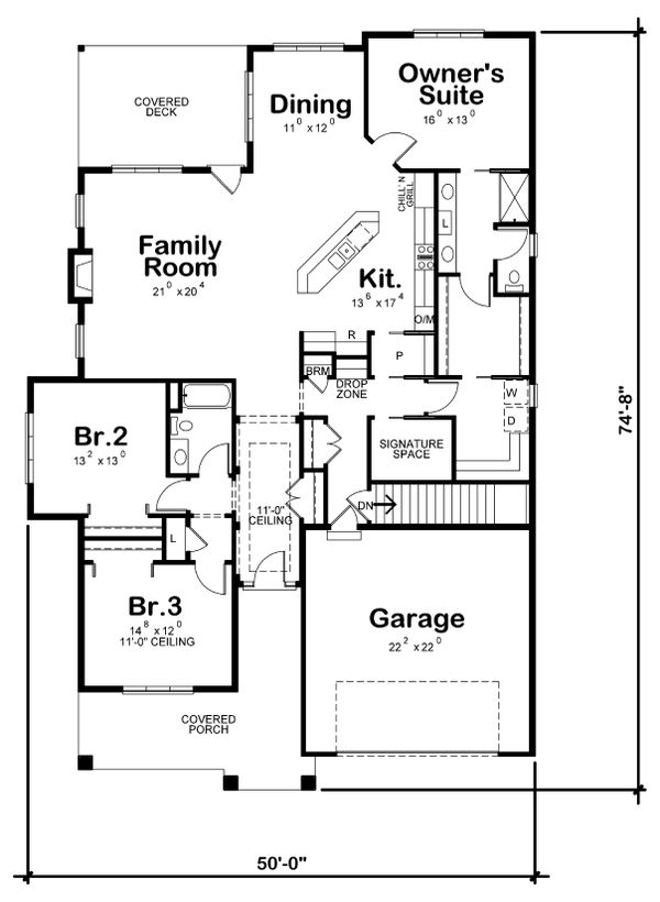Craftsman Floor Plan - Main Floor Plan Plan #20-2200