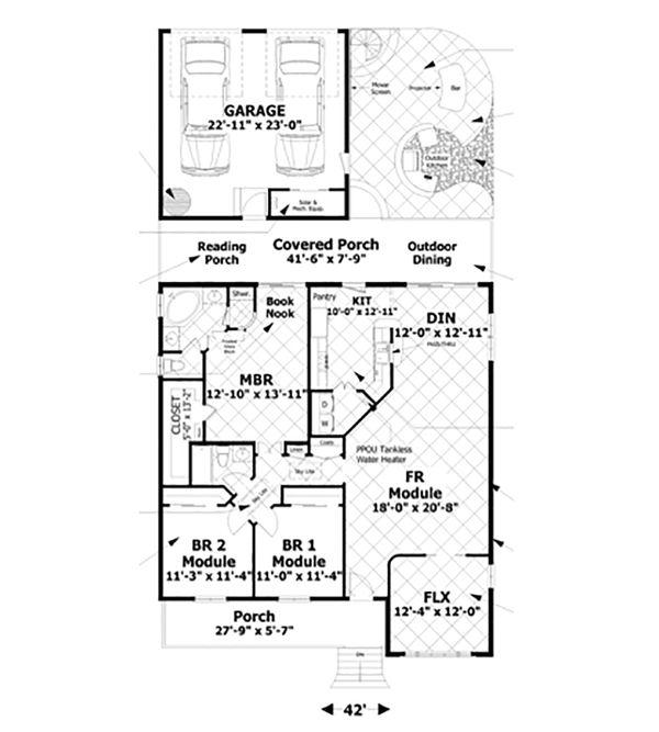 Craftsman Floor Plan - Main Floor Plan #56-629