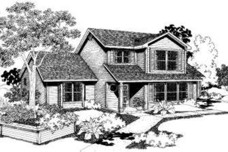 Traditional Style House Plan - 3 Beds 2.5 Baths 1830 Sq/Ft Plan #303-106 Exterior - Front Elevation