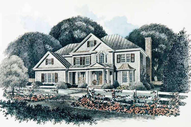 Colonial Exterior - Front Elevation Plan #429-91