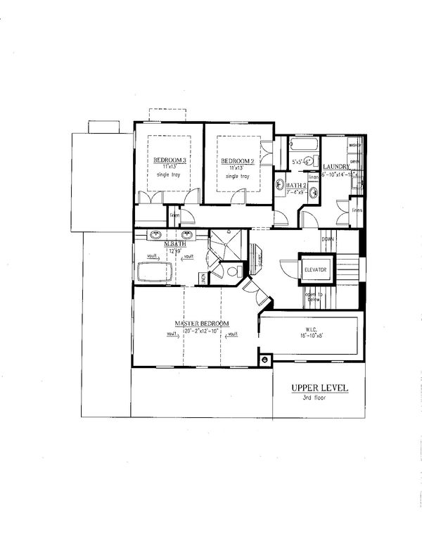 Southern Floor Plan - Upper Floor Plan Plan #437-57